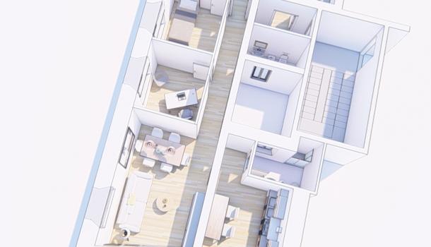 Render Via Podesti _ vista alto _ appartamento